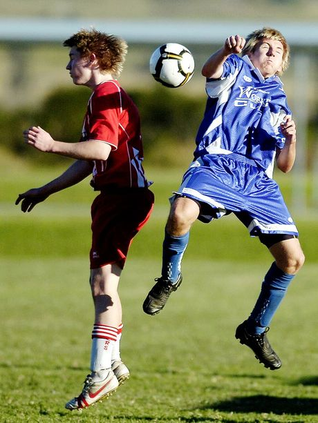 Workers' Ryan Benbow and Thistles' Adam Buckley pictured using their heads to contest the ball during a 2010 match at the Thistles's home ground.