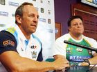 Titans coach John Cartwright with Ipswich Jets coach Glenn Lazarus.
