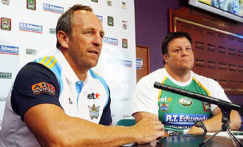 Titans coach John Cartwright with Ipswich Jets coach Glenn Lazarus.