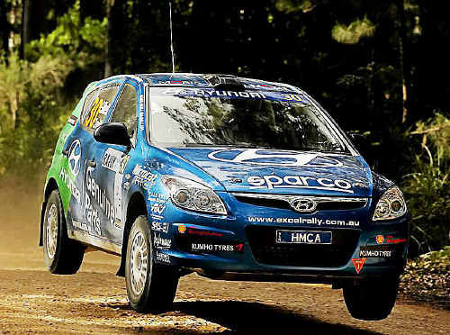 Mick Gillett and co-driver Harvey Smith go all out in their Hyundai i30 during the weekend's Coffs Coast Rally.