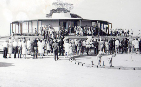 Crowds gather at the opening of the Roundhouse in the late 1960s.