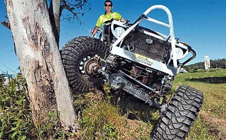 Rock-crawler supreme Matt White with his home-built tough truck.