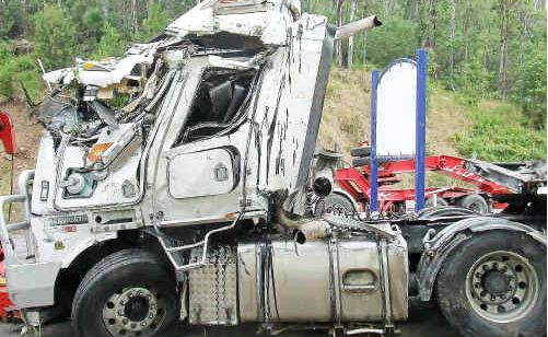 The passenger side of the Kenworth Prime Mover was smashed in after it went down an embankment at the Gap.