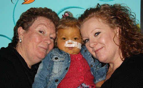 Indianna Allen with her grandmother Flo Pemberton, left, and mum Angela Allen.