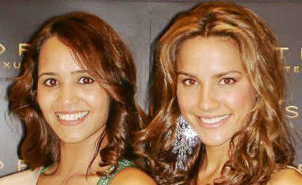 Secret weapon: Eye on the crown – Leslie-Ann Smith, a 2010 Miss Universe Australia NSW finalist, left, with current Miss Australia, Rachel Finch.