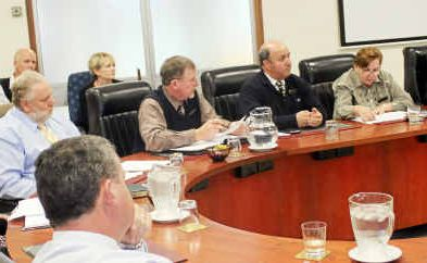 Southern Downs Regional Councillors at the Slade School meeting at the Warwick council chambers yesterday.