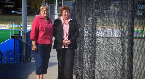 Grafton Women's Hockey president Cheryl Kinnane, left, with umpire convenor Vickie Munns.