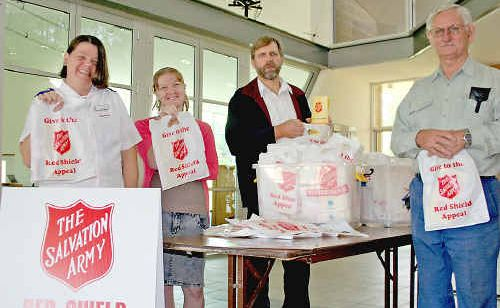Salvation Army volunteers Gayle Andrew, Susan Andrew, Lindsay Reeves and Barry Boan get ready for this weekend's Red Shield Appeal.