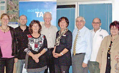 Emily Oquist, Mark Gasson, Kaylene Chamberlain, Mark Jewell, Julia Drury, Lismore MP Thomas George, Declan Hart and Linda Bradbury.