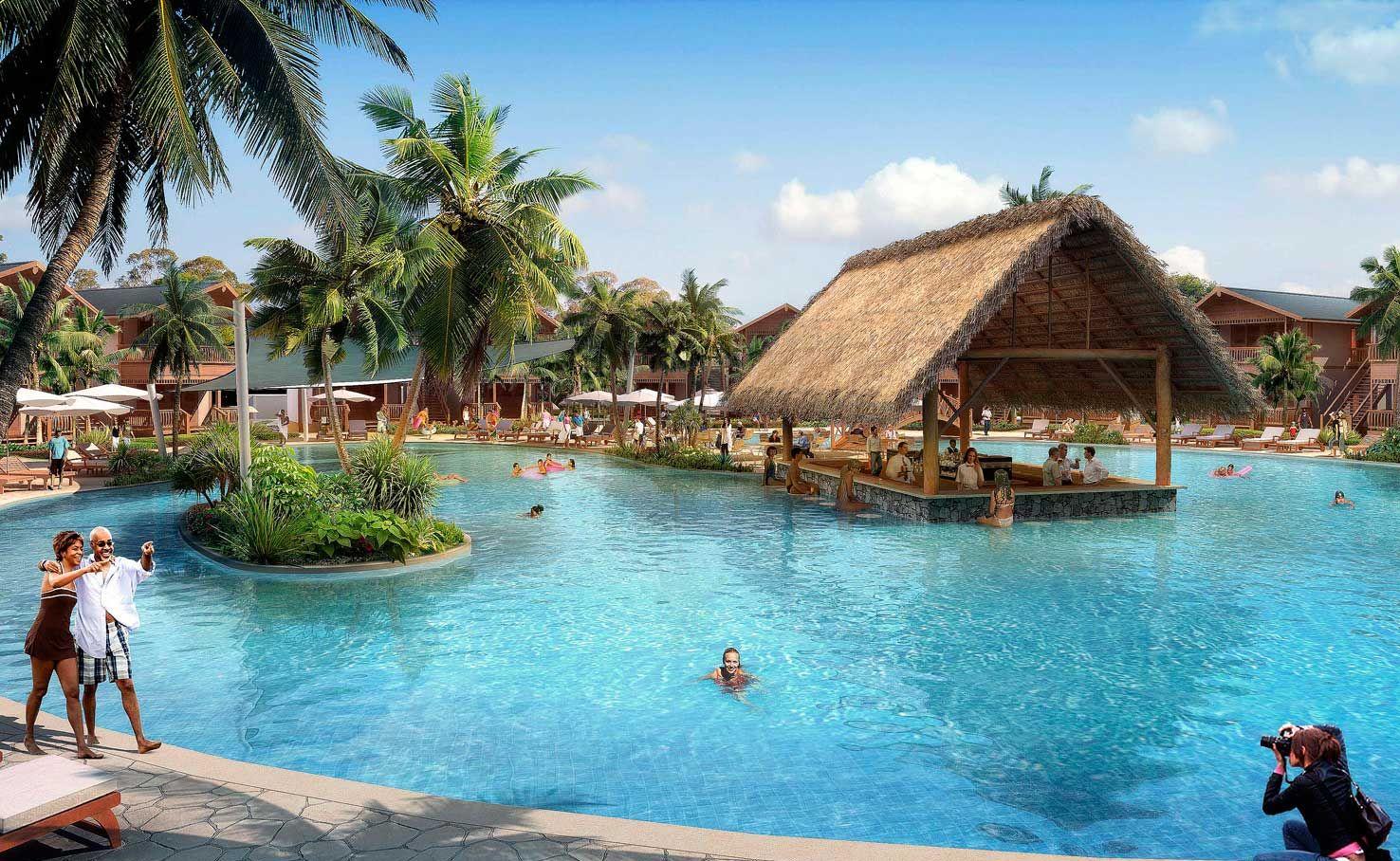 An artist impression of the swimming area at Samudra Resort Whitsundays.
