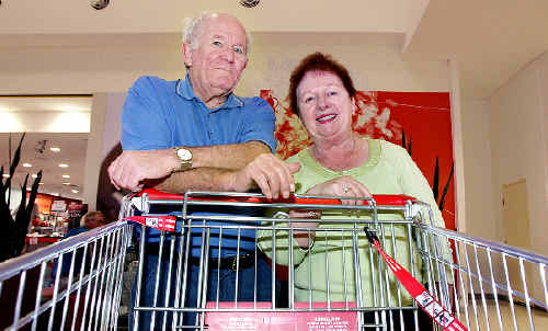 Shopping at Tweed City yesterday, John and Bev Gair say online grocery shopping can be a good thing.