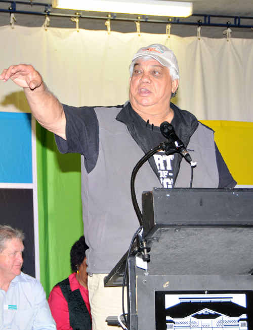 PROMOTING THE FUTURE: Big Artie Beetson helps put out the positive employment message at yesterday's Jobs Expo.