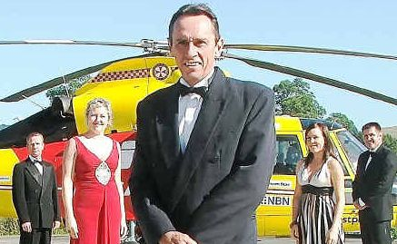 Chopper mob: Rescue helicopter staff Andy Stewart, Nyree Epplett, chief pilot Lynton Beggs (front of photo), Brooke Leeson and general manager Kris Beavis dressing up for the Gala Ball.