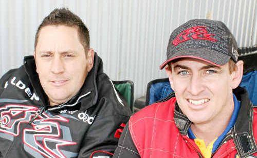 Mark Gray and Michael Dawes at the Queensland Motor Racing Championships at Morgan Park Raceway.