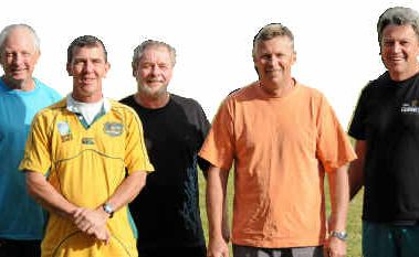 Touch originals: From left, Steve Llewellyn, Tony Wells, Peter Cairns, Doug Hughes and Barry Livermore. The five are all from the first-ever matches 25 years ago.