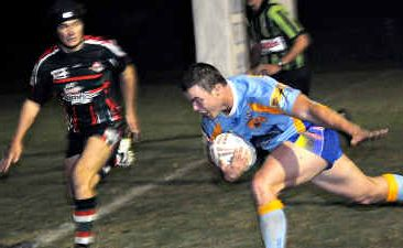 Devils substitute Fletcher Holmes flies in for a try in the Devils 38-18 win over Nambour on Saturday night.