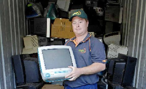 'E' for effort: Lismore City Council waste and water education officer Kevin Trustum keeps 150 tonnes of electronic waste out of landfill by sending it to Brisbane to be recycled.