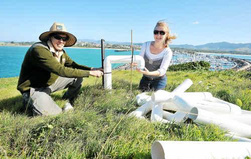 Rat attack: Dean Egan, NPWS, and Frances Zewe, UNE, prepare rodent baits on Muttonbird Island, Coffs Harbour.