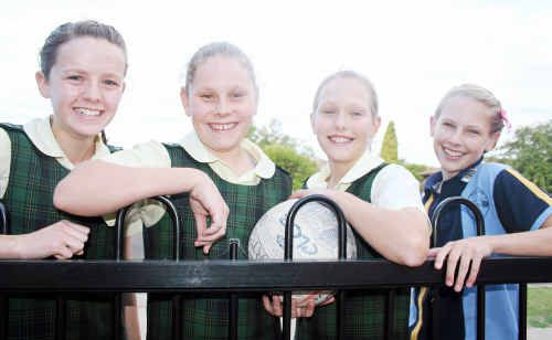 Dimity Brackin (left), Sarah Ogden, Larissa Millard and Meg Eastwell are in regional primary school netball teams.