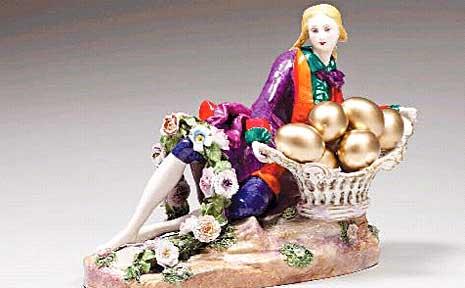 Penny Byrne's antique porelain figurine with additions, entitled Banker Joker Wanker 2009.