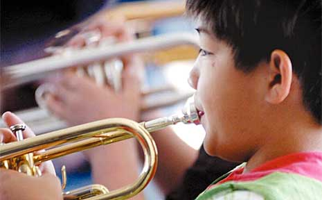 Daniel Ting learns from the best at the Lake Ainsworth Music Camp.