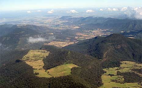An aerial view of the mountains near Stanthorpe.