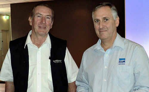 Frank Watson (left) and Don Jones warned Gympie Chamber of Commerce yesterday about anti-fishing agendas which they say threaten the whole regional economy.