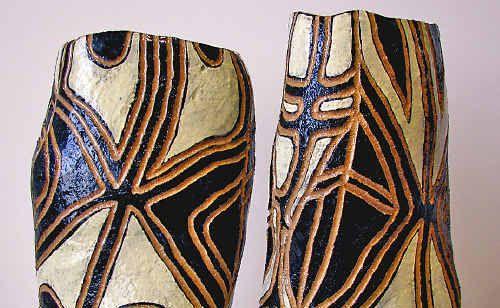 Sisters Dreaming, coil built raku pots by Penny Evans, winner of the 2009 NPWS Aboriginal Art Award.