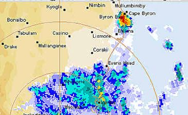 GRAPHIC EVIDENCE: The Bureau of Meteorology's weather radar shows in red the super cell storm event that triggered the tornado that wreaked havoc on parts of Lennox Head yesterday morning.AAP Image/Australian Bureau of Meteorology