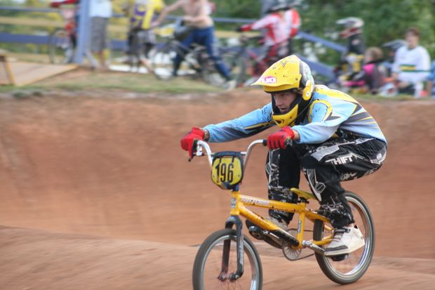 Peter Little racing in the 14-years-boys BMX at the North Queensland Zone Championships in Proserpine on the weekend.
