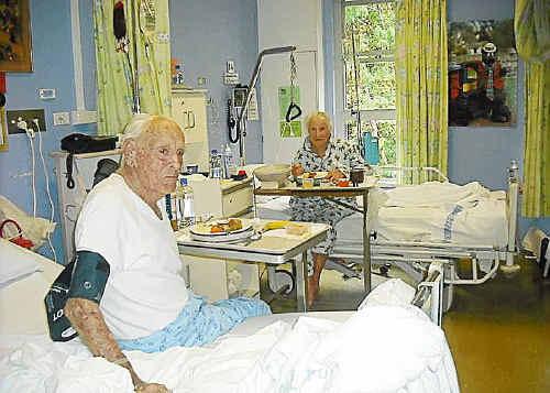 Mervyn and Sophie Kennedy share a ward at Bellinger River District Hospital.