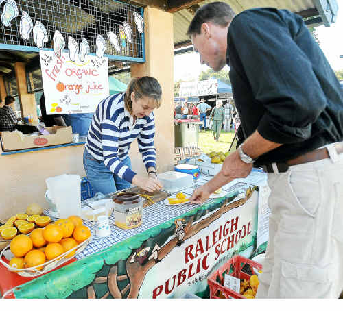 Energy food: Joanne Hodgson from Raleigh Public School selling starfruit, fresh citrus and juices.