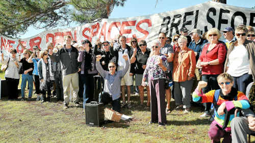 Stop the sale: Protestors turned up in droves to yesterday's Save Our Open Spaces rally at Brelsford Park.