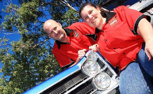 Poker facce: Adrian and Kristine McDonald with their 1967 Dodge Phoenix.