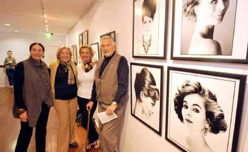 Fashion photographer Geoffrey Lee at his exhibition Fashion and Beauty Photography from the 50s, 60s, and 70s with three of his former models who travelled down from the Byron Bay area to catch up with Geoffrey at his artist's talk, from left, Lyn Diamond, Jan Carmody and Di Parkinson.