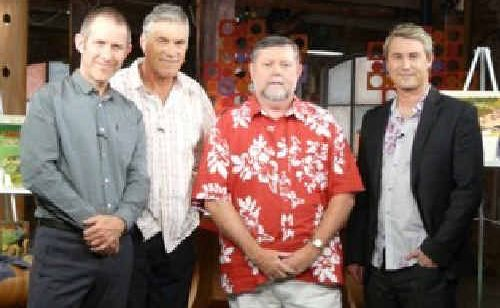Kevin Dixon, second from right, with the cast of the Collectors, during shooting in Tasmania in April.