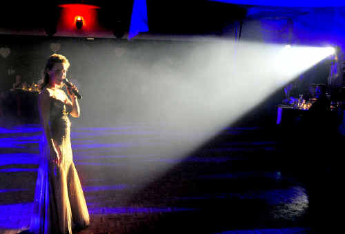 HAPPY HOST: Rachael Beck performing at the Westpac Life Saver Rescue Helicopter gala fundraising ball.
