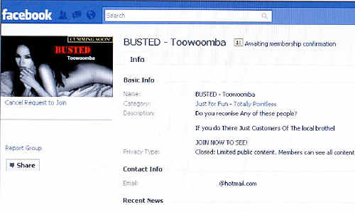 The Facebook group, Busted – Toowoomba, threatens to release photographs of visitors to Deviations, the city's only legal brothel.