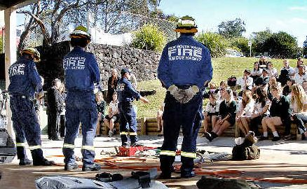 Eye-opener: Kadina High School students at the RescuED program hosted by the Goonellabah Fire Brigade to alert young drivers to the realities of car accidents.
