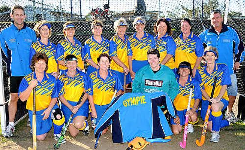 The Gympie Vets women's hockey side is ready for the cold in Warwick with new jackets sponsored by Masondale Heavy Haulage.