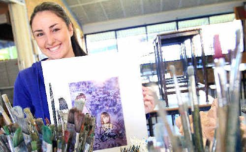 Remy Cutcher with a section of her artwork purchased for the William Wilkins Memorial Art Collection.