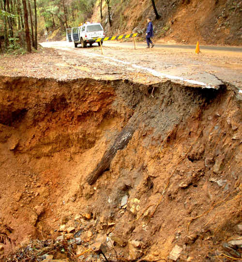 Damage: Repairs to storm-related damage to the Waterfall Way on the way to Dorrigo will begin next week.