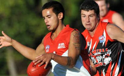 Common cause: Coffs Swans Kris Rundell (left) and Sawtell's Daniel Pritchard will be working together today for the AFL North Coast team.
