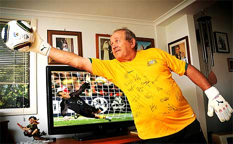 Hans Joachim Schwarzer will be eagerly watching his son, Socceroo goalkeeper Mark Schwarzer, in action in the World Cup.