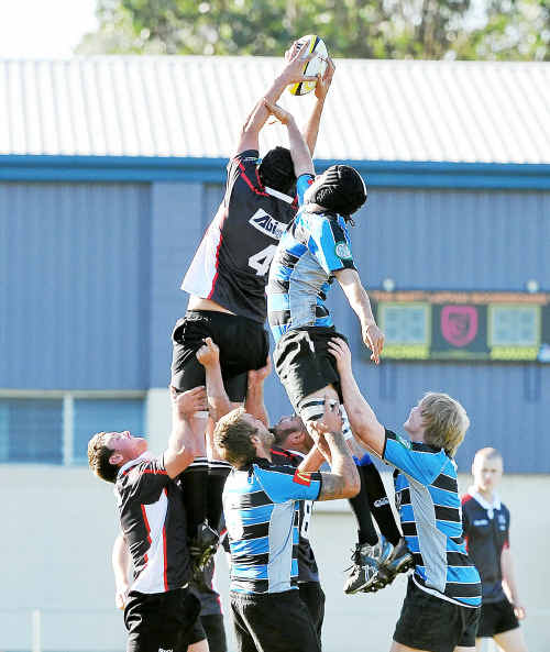 Flying high: Mid North Coast and Far North Coast locks contest lineout possession.
