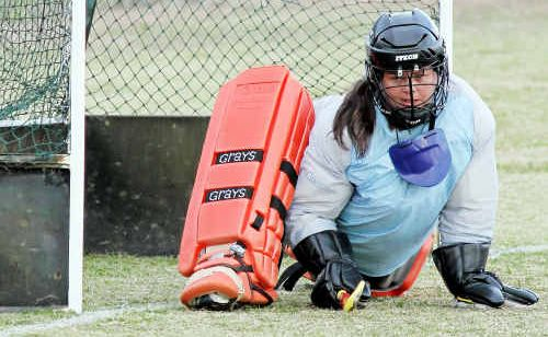 Warwick goal keeper Kerri Fitch watches the ball after successfully keeping it out during the penalty shootout with Mt Isa yesterday in the division four semi-final.