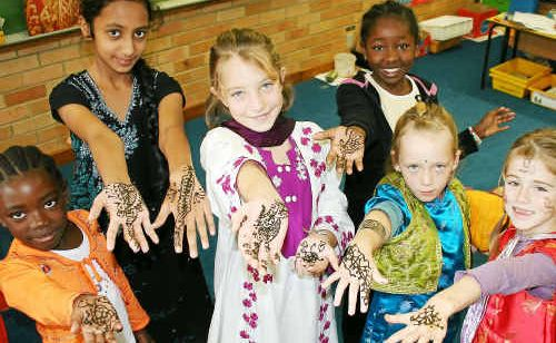 The students loved the swirls and design of traditional henna painting.