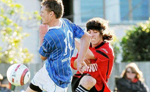 Men's soccer at Maclean St oval, Coffs United v Woopi.