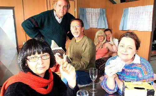 The cast of Caravan Eve Wheeler, Charles Hurley, Colin Elliott, Lea Coleman, Brian Meldrum and Susie Hall.