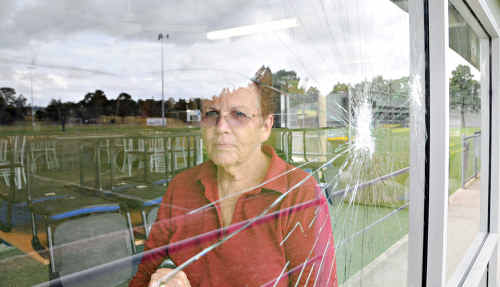 Football Gympie Club secretary Pam Tindall was at the clubhouse cleaning up broken glass yesterday after the second attack of vandalism in three days.